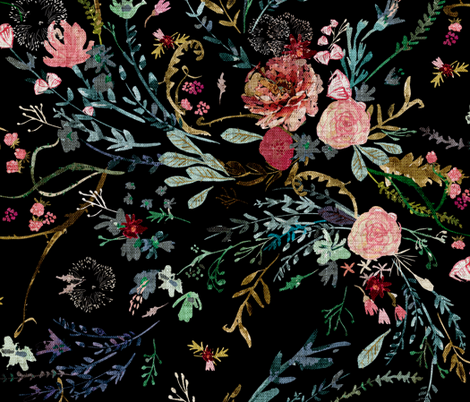 Fable Floral (black) JUMBO fabric by nouveau_bohemian on Spoonflower - custom fabric