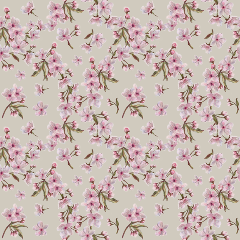 Sakura Wreath Pattern on Tan Background fabric by nwolfgang on Spoonflower - custom fabric