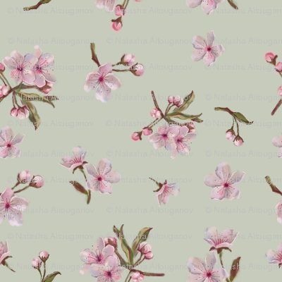 Sakura Blossoms Seamless Pattern on Tan Background