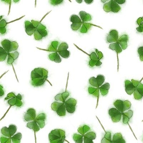 Shamrock Foliage Seamless Pattern Isolated on White