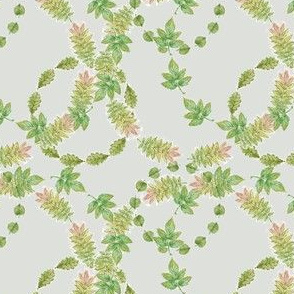 Green Leaves Wreaths on Neutral Background