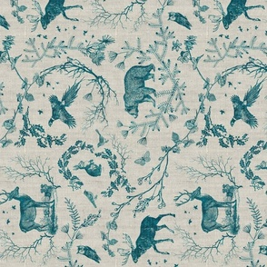 Woodland winter toile (teal) RAILROAD