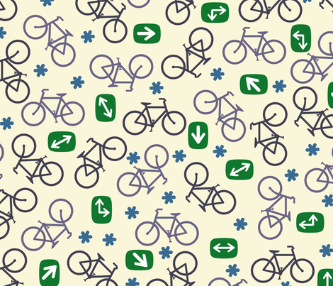 Ditsy Bicycles fabric by cricketswool on Spoonflower - custom fabric