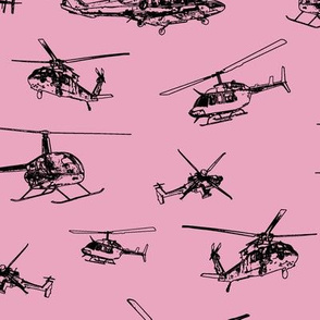 Helicopters on Pink // Large