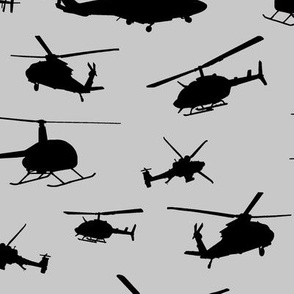 Helicopter Silhouettes on Silver // Large