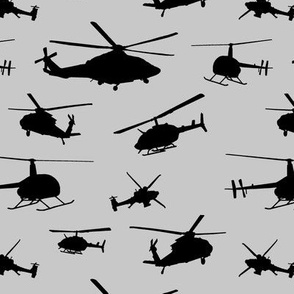Helicopter Silhouettes on Silver // Small