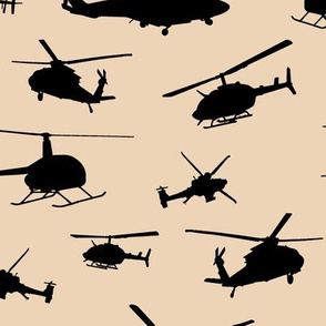 Helicopter Silhouettes on Champagne // Large