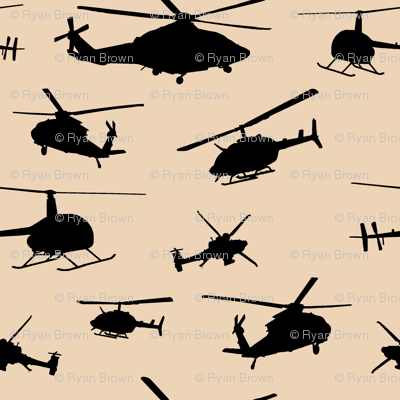 Helicopter Silhouettes on Champagne // Small
