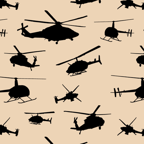 Helicopter Silhouettes on Champagne // Small fabric by thinlinetextiles on Spoonflower - custom fabric
