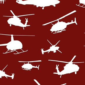 Helicopter Silhouettes on Burgundy // Large
