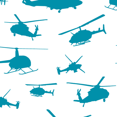 Teal Helicopter Silhouettes // Large fabric by thinlinetextiles on Spoonflower - custom fabric