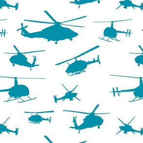 Teal Helicopter Silhouettes // Small
