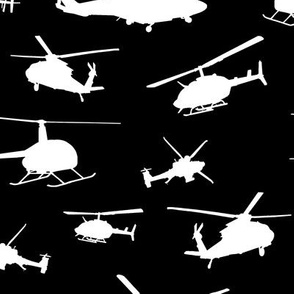 Helicopter Silhouettes on Black // Large