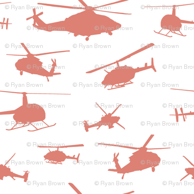 Pink Helicopter Silhouettes // Large