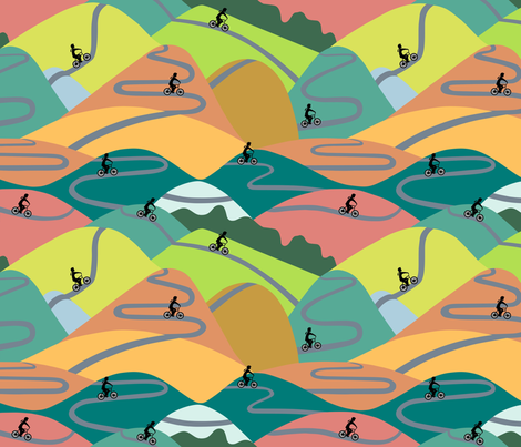 Mountain rides - summer  fabric by dustydiscoball on Spoonflower - custom fabric