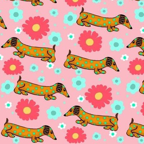 The Dotted Dachshund Garden Party / slant on pink