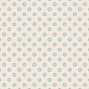 shaped dots - light teal on beige