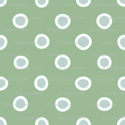 shaped dots - light teal on green