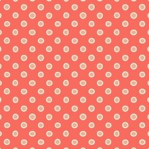 shaped dots - orange on red