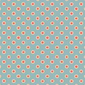 shaped dots - red on teal