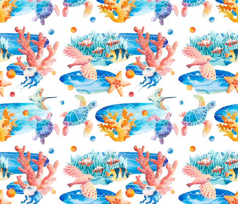 Unter Wasser fabric by vogelblau on Spoonflower - custom fabric
