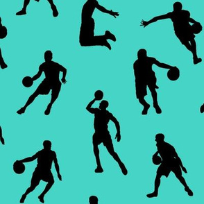 Basketball Players on Turquoise // Large