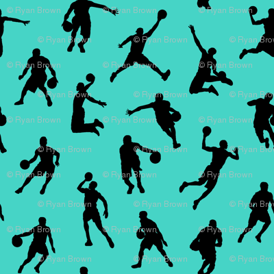 Basketball Players on Turquoise // Small