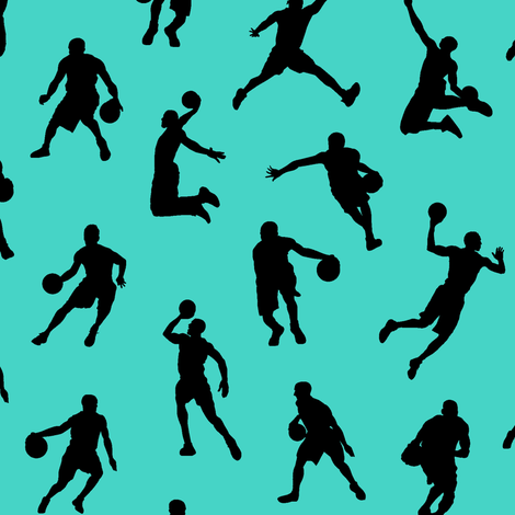 Basketball Players on Turquoise // Small fabric by thinlinetextiles on Spoonflower - custom fabric