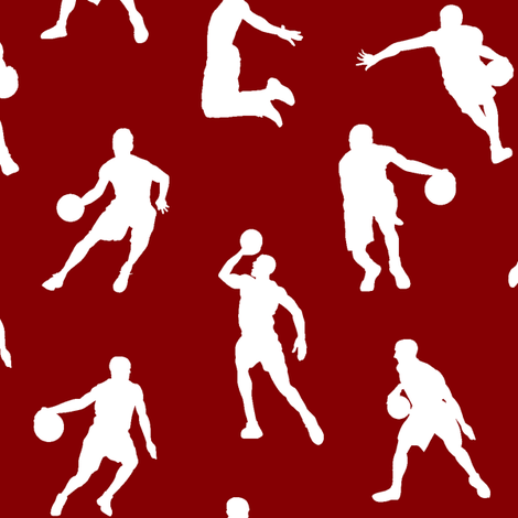 Basketball Players on Maroon // Large fabric by thinlinetextiles on Spoonflower - custom fabric