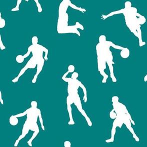 Basketball Players on Teal // Large