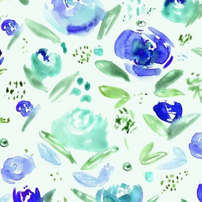 Sweet garden in blue || watercolor floral pattern