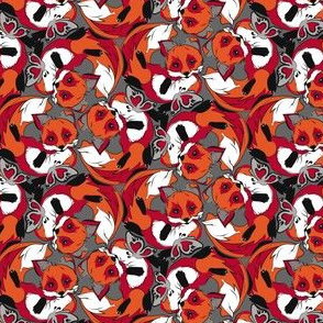 Red foxes and butterfly
