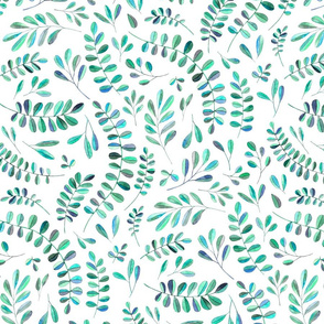 Scattered Emerald and Turquoise leaves on white - large print