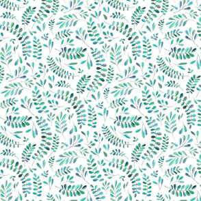 Scattered Emerald and Turquoise leaves on white - small print