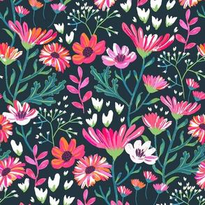 Hand Painted Flower Garden