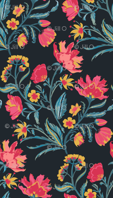 Indian Floral - hand painted