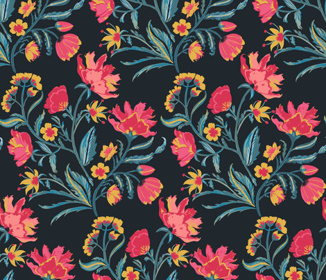 Indian Floral - hand painted fabric by jill_o_connor on Spoonflower - custom fabric