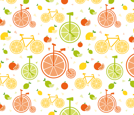 Citrus bicycles fabric by katherinecory on Spoonflower - custom fabric