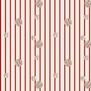 baseball toss stripes 97- red on cream