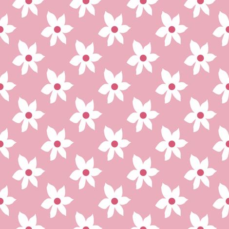 Flowers on #e9adbc fabric by anniedeb on Spoonflower - custom fabric