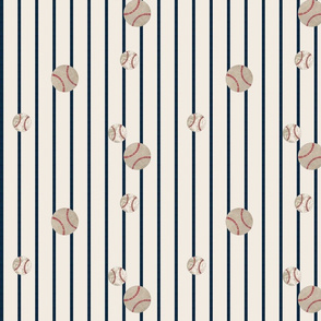 baseball toss  stripes 979 - navy on cream