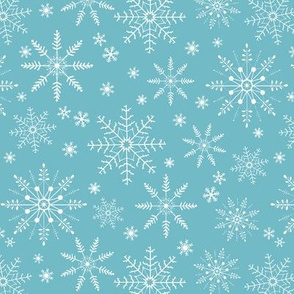 Snowflakes - bright blue