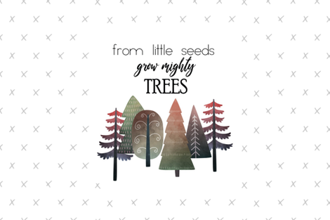 """18X27"""" RED From Little Seed Grow Mighty Trees - MINKY SIZE fabric by gingerlous on Spoonflower - custom fabric"""
