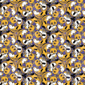 Foxes on violet background
