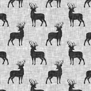 (small scale) dark grey buck on light grey linen