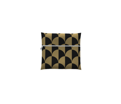 Round Checkers Gold on Charcoal