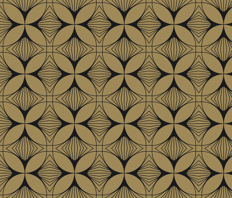 Floral Cross Charcoal on Gold fabric by anvil_studio on Spoonflower - custom fabric