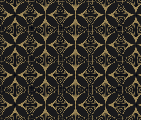 Floral Cross Gold on Charcoal fabric by anvil_studio on Spoonflower - custom fabric