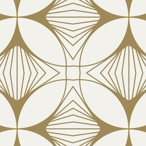 Floral Cross Gold on White