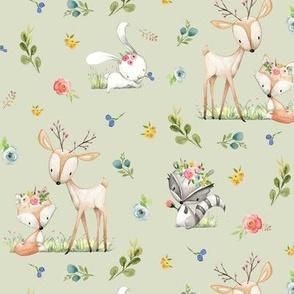 Woodland Friends (soft green) - Deer Fox Raccoon Bunny Flowers Baby Girl Nursery Blanket Sheets Bedding